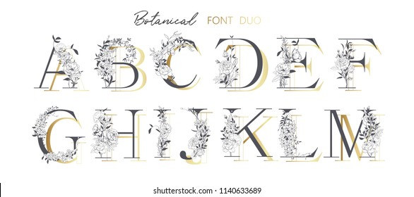 Wedding alphabet. Initials with botanical elements. Monogram arrangement. Floral letter design. Hand drawn flowers. Composition for card, invitation, save the date, logo, buusiness style.