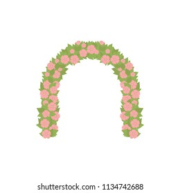 Wedding arc door with flowers isolated on white. Romantic watermelon color for wedding design. Wedding decor fashion interior. Decoration with roses. Save the date archway. Memorable great day. Vector