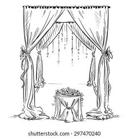 Wedding arch. Wedding altar. Decoration. Vector sketch. Design element.