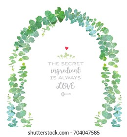 Wedding arch of baby blue eucalyptus branches vector design frame. Watercolor style. Hand painted eucalyptus isolated elements. Vector greenery illustration for romantic rustic invitation design.