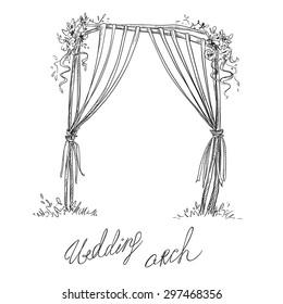 Wedding arch. Decoration. Design element. Vector sketch.