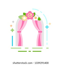 Wedding arch flat color icon. Event service concept. Sign for web page, mobile app, banner, social media. Pictogram UI/UX and GUI user interface. Vector clipart, illustration.