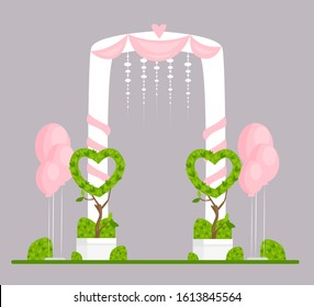 Wedding arch flat vector illustration. Engagement ceremony isolated design element. Marriage event festive decor. Ceremonial archway decorated with white curtains, pink hearts and balloons.