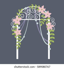 Wedding  arch with  flowers. Vector illustration