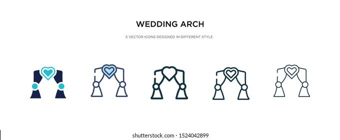 wedding arch icon in different style vector illustration. two colored and black wedding arch vector icons designed in filled, outline, line and stroke style can be used for web, mobile, ui
