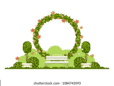 Wedding arch on a white background of plant elements and flowers, park beautiful figures of topiary for a wedding ceremony in the form of a circle