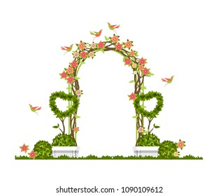 Wedding arch on a white background of plant elements and flowers, park beautiful figures of topiary for a wedding ceremony