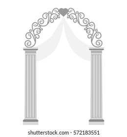 Wedding arch with ornaments, isolated on white background.  Wedding decoration. Vector illustration.