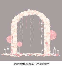 Wedding arch  with pink roses and beads. Vector illustration