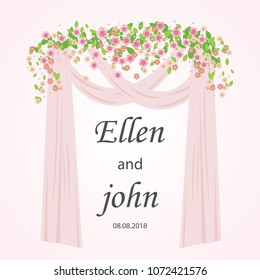 Wedding arch with pink and white flowers. Wedding card element. Rustic style. Cream rose decoration. Floral arch. Vector flat illustration