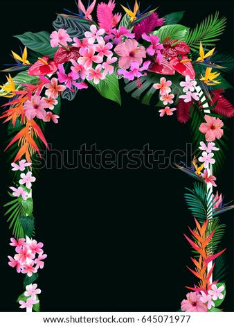 wedding arch tropical flowers invitations wedding stock vector