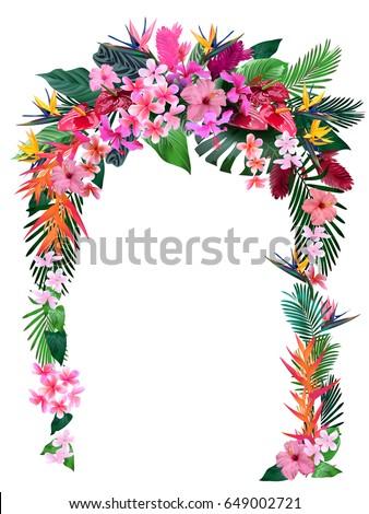 wedding arch tropical flowers invitations wedding のベクター画像