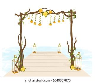 Wedding arch. Wood decoration
