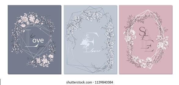 Wedding arrangement. Floral bouquet design. Botanical frame. Hand drawn flowers. Composition for card, invitation, save the date.