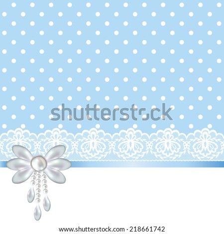 Wedding baby shower invitation greeting card stock vector royalty wedding or baby shower invitation or greeting card with white lace on blue polka dot background m4hsunfo