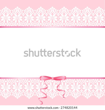 Wedding baby shower invitation greeting card stock vector royalty wedding or baby shower invitation or greeting card with lace on pink background m4hsunfo