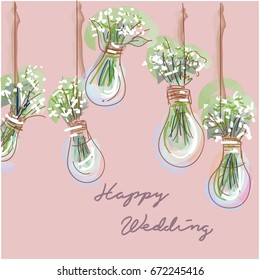 wedding background / baby's breath / flower in vase