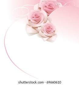 Wedding background with pink roses. Vector illustration.