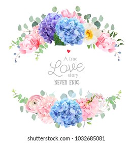 Wedding banner card. Violet, blue and purple hydrangea, pink rose, ranunculus, carnation, white peony flower, eucalyptus and greenery  vector design round frame. All elements are isolated and editable