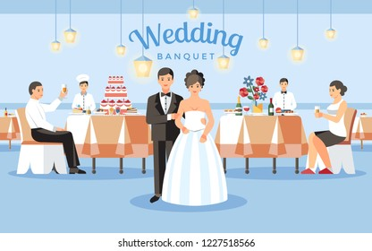 Wedding Banquet Concept. Newlyweds and Restaurant Interior in Background. Catering Service and Event Order. Food Service Business. Groom, Bride, Guests and Professional Staff. Vector Flat Illustration