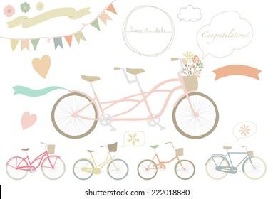 Wedding bicycle. Set of wedding invitation vintage design elements.