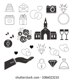 wedding black and white icons