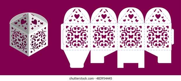Wedding bonbonniere with heart and butterflies. Laser cutting vector template. Openwork cube gift box.