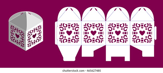 Wedding bonbonniere with hearts. Laser cutting vector template. Openwork cube gift box.
