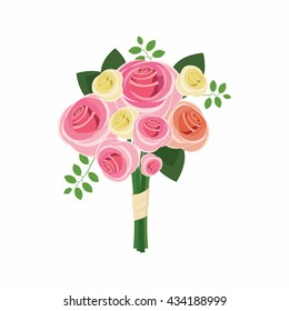 Wedding bouquet of pink roses icon, cartoon style