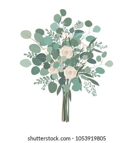 Wedding bouquet with rose flowers, seeded and silver dollar eucalyptus greenery. Vector illustration, isolated on white