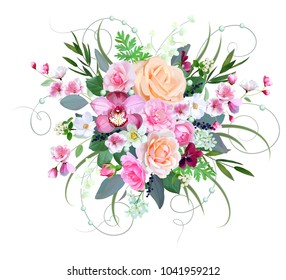 Wedding bouquet with roses and orchid