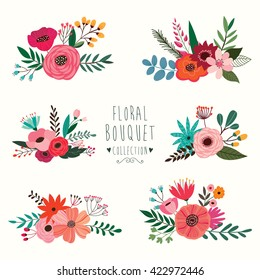 Wedding bouquets collection Six hand drawn floral bouquets ( vector design)
