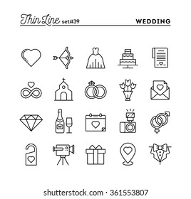 Wedding, bridal dress, event invitation, celebration party and more, thin line icons set, vector illustration