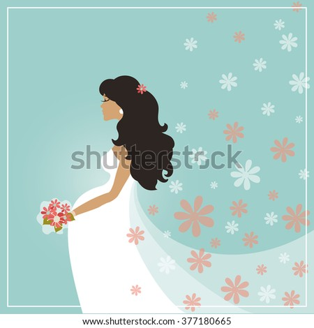 wedding bridal shower card cartoon pregnant bride in long dress veilfalling flowers