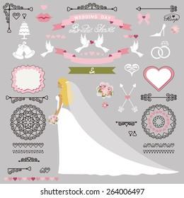 wedding bridal shower invitation card decor setcartoon bridelong dressswirling borders