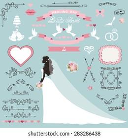 wedding bridal shower invitation card decor setcartoon bride in long dressswirling borders