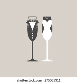 Wedding bride and groom champagne flutes glasses vector
