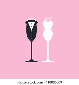 Wedding bride and groom champagne stemware vector. Vector image of wine glasses, dressed in wedding characters