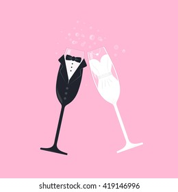Wedding bride and groom champagne stemware vector. Vector image of wine glasses, dressed in wedding characters. Clink glasses symbol. Bridal couple wine glasses