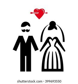 Wedding. Bride and groom icon. Vector illustration.
