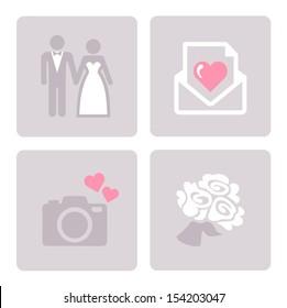 Wedding, bride and groom - web icons set.
