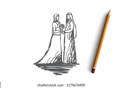 Wedding, bride, together, betrothal, islam concept. Hand drawn concept. Hand drawn bride and groom in muslim wedding dress concept sketch. Isolated vector illustration.