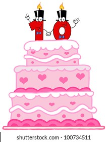Wedding Cake Or Birthday Cake With Number Ten Candles Cartoon Character