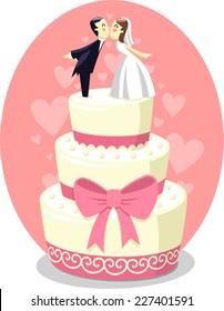 Wedding Cake with Bride and Groom Figurines, vector illustration cartoon.