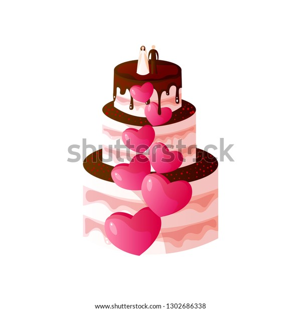 Wedding Cake Bride Groom Top Vector Stock Vector Royalty Free 1302686338