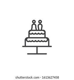 Wedding cake with chocolate bride and groom line icon. linear style sign for mobile concept and web design. Wedding cake with couple married outline vector icon. Symbol, logo illustration.