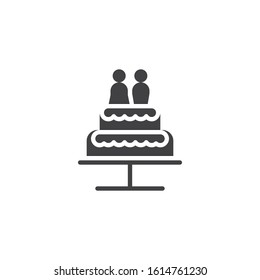 Wedding cake with chocolate bride and groom vector icon. filled flat sign for mobile concept and web design. Wedding cake with couple married glyph icon. Symbol, logo illustration. Vector graphics