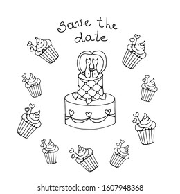 Wedding cake, cupcakes and cake topper cats couple. Cats wedding. Save the date. Cats love couple. Cute hand drawn stock vector illustration in doodle style.  Use for greeting cards, invitations.