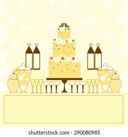 Wedding cake and dessert table. Vector illustration