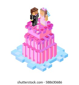 Wedding cake with figures in minecraft style. Vector, isometric illustration for postcards and  your design. For party, wedding